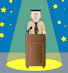 shy or nervous man giving speech standing in the spotlight - vector